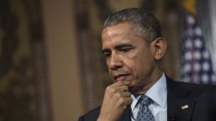 الرئيس الأمريكي باراك أوباما في جامعة جورجتاون في واشنطن، 12 مايو 2015 (AFP/NICHOLAS KAMM)