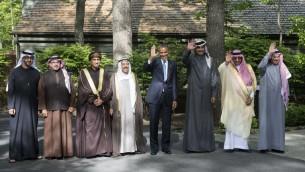 الرئيس الأمريكي باراك أوباما مع اعضاء مجلس التعاون الخليجي خلال قمة كامب ديفيد، 14 مايو 2015 (NICHOLAS KAMM / AFP)