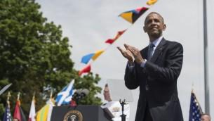 الرئيس الأمريكي باراك أوباما في  أكاديمية البحرية للولايات المتحدة  في نيو لندن، كونيتيكت،  20 مايو، 2015  AFP PHOTO/NICHOLAS KAMM