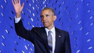 الرئيس الأمريكي باراك أوباما خلال خطاب له بمانسبة الإحتفال بشهر التراث اليهودي في كنيس  أداس إسرائيل، 22 مايو، 2015 في العاصمة واشنطن. (Chip Somodevilla/Getty Images/AFP)