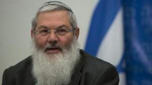 نائب وزير الشؤون الدينية ايلي بن دهان، 3 فبراير 2014 (Yonatan Sindel/Flash90)