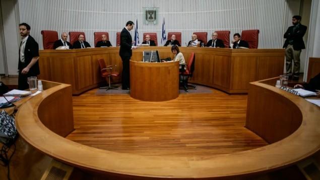 محكمة العدل العليا خلال جلسة. (Miriam Alster/Flash90)