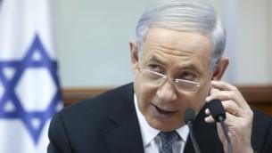 رئيس الوزراء بينيامين نتيناهو يترأس إجتماع المجلس الوزراي  الأسبوعي في مكتب رئيس الوزراء في القدس في 10 مايو، 2015 (Marc Israel Sellem/Flash90, Pool)
