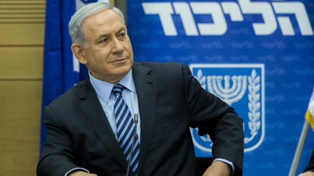 رئيس الوزراء بينيامين نتنياهو خلال اجتماع لحزب الليكود في الكنيست بالقدس في 18 مايو، 2015. (Yonatan Sindel/Flash90)