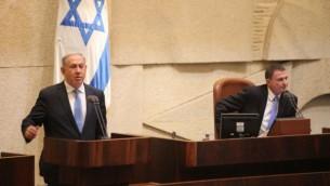 رئيس الوزراء بنيامين نتنياهو يعرض حكومته الجديدة في الكنيست، 14 مايو 2015 (Knesset spokesperson)