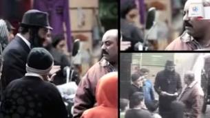 يرتدى صحفيون مصريون زي يهودي متشدد لاختبار ردود فعل الناس، 20 مايو 2015 (Screenshot: YouTube)