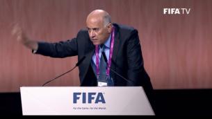 رئيس الإتحاد الفلسطيني لكرة القدم جبريل رجوب خلال خطاب أمام كونغرس الفيفا في 29 مايو، 2015. (لقطة شاشة: FIFA )