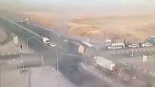فيديو يظهر لحظة الاصطدام في مفترق لهافيم، 21 مايو 2015 (screen capture: YouTube)