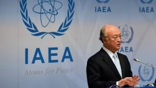 رئيس الوكالة الدولية للطاقة النووية يوكيا امانو، 8 يونيو 2015 (JOE KLAMAR / AFP)