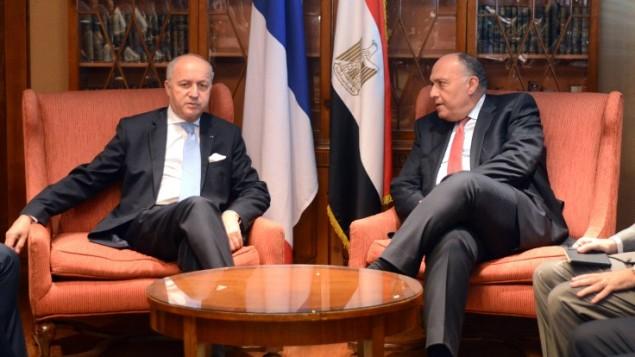 وزير الخارجية الفرنسي لوران فابيوس مع نظيره المصري سامح شكري في القاهرة،  20 يونيو 2015 (MOHAMED EL-SHAHED / AFP)