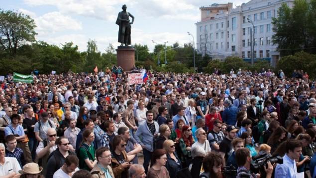 مظاهرة للعلماء ضد الحكومة الروسية في موسكو، 6 يونيو 2015 (PHILIPP KIREEV / AFP)