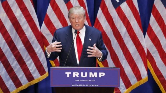 الملياردير دونالد ترامب يعلن ترشحه لانتخابات الرئاسة الاميركية في ترامب تاور في نيويورك، 16 يونيو 2015 (KENA BETANCUR / AFP)