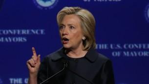 المرشحة الديموقراطية الى الانتخابات الرئاسية الاميركية هيلاري كلينتون خلال زيارة الى سان فرانسيسكو، 20 يونيو 2015 (Justin Sullivan/Getty Images/AFP)