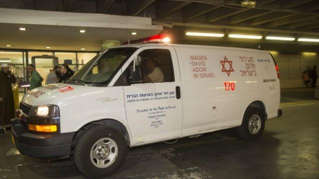 صورة توضيحية/: سيارة إسعاف تابعة لنجمة داوود الحمراء. (Yonatan Sindel/Flash90)