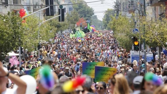 الآلاف يشاركون في المسيرة السنوية للفخر بالمثلية في تل أبيب، 13 يونيو، 2014. (Yonatan Sindel/Flash90)