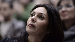 عضو الكنيست ميري ريغيف في مؤتمر سياسي في جامعة تل أبيب في 18 يناير، 2015 (Tomer Neuberg / FLASH 90)