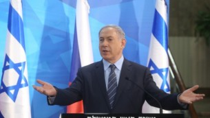 رئيس الوزراء بينيامين نتنياهو خلال مؤتمر صحفي مشترك مع وزير الخارجية التشيكي لوبومير زاورالك في القدس، 8 يونيو، 2015. (Marc Israel Sellem/POOL)