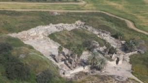 صورة جوية للقصر الأموي في خربة المنيا (مصدر الصورة: حفريات المنيا، الجامعة العبرية في القدس، إيلان عراد)