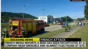 مشهد من  الهجوم الارهابي المشتبه على مصنع الغاز في غرونوبل، فرنسا، 26 يونيو 2015 (من شاشة سكاي نيوز)