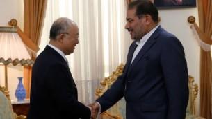يوكيا امانو المدير العام للوكالة الدولية للطاقة الذرية مع رئيس جهاز الأمن القومي الإيراني علي شمخاني في طهران، 2 يوليو 2015 (ATTA KENARE / AFP)