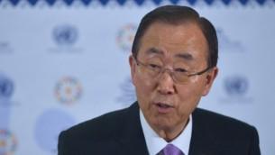 الأمين العام للأمم المتحدة بان كي مون، 13 يوليو، 2015. (Tony Karumba/AFP)