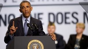 الرئيس الاميركي باراك اوباما اثناء خطابه امام قدامى المحاربين دفاعا عن الاتفاق النووي في مدينة بيتسبرغ في ولاية بنسلفانيا، 21 يوليو 2015 (Jeff Swensen/Getty Images/AFP)