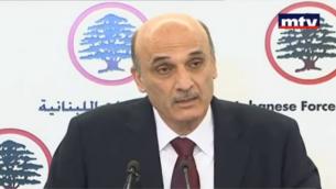 سمير جعجع خلال مؤتمر صحفي في 29 مايو، 2013. (لقطة شاشة من مقطع فيديو من YouTube تم تحميله على يد MTVLebanonNews)