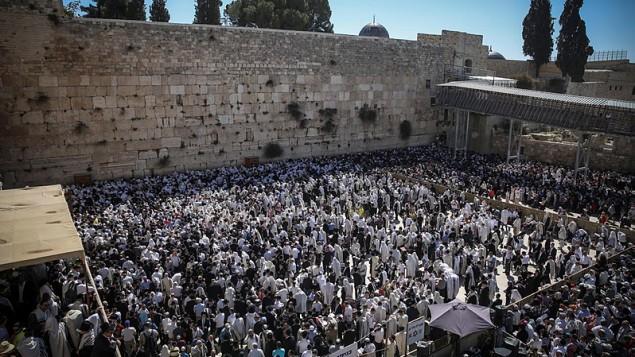 مصلون يهود امام حائط المبكى في البلدة القديمة في القدس، 6 ابريل 2015 (Hadas Parush/Flash90)