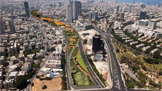 محاكاه للمتنزه الحضري الذي سيتم بناءه فوق طريق أيالون السريع في تل أبيب (بلدية تل أبيب)