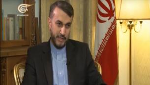 نائب وزير الخارجية الايراني حسين امير عبداللهيان على قناة الميادين (screen capture: YouTube)