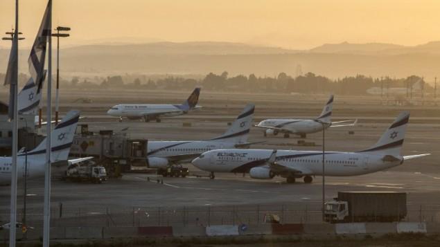 طائرات في مطار بن غوريون الدولي، بالقرب من تل ابيب، 21 اغسطس 2014 (AFP/Jack Guez)