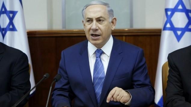 رئيس الوزراء بنيامين نتنياهو خلال جلسة الحكومة الإسبوعية في مكتبه في القدس، 2 اغسطس 2015 (Gali Tibbon/AFP/Pool)