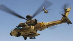 مروحيلت أباتشي تابعة لسلاح الجو الإسرائيلي، ملف (Nati Shohat/Flash90)