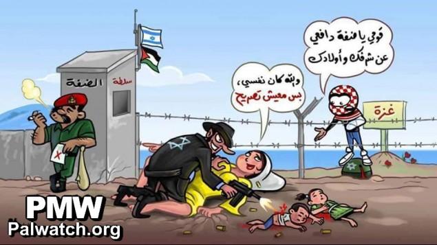 رسم لبهاء ياسين يتهم الضفة الغربية ووكالتها الامنية بالتعاون مع اسرائيل (Bahaa Yassin/courtesy/Palestinian Media Watch)