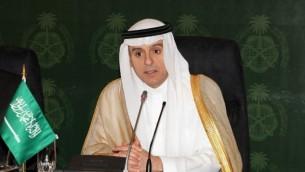 وزير الخارجية السعودي عادل الجبير خلال مؤتمر صحافي في جدة بالسعودية، 23 يوليو، 2015. (AFP)