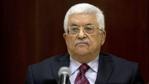 رئيس السلطة الفلسطينية محمود عباس يترأس إجتماع اللجنة التنفيذية لمنظمة التحرير الفلسطينية في مدينة رام الله بالضفة الغربية، 22 اغسطس 2015 (AFP/Majdi Mohammed/Pool)