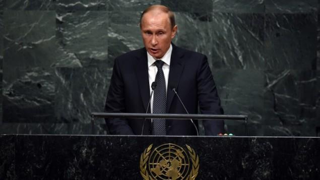 الرئيس الروسي فلاديمير بوتين يخاطب الجمعية العامة للأمم المتحدة في نيويورك، 28 سبتمبر 2015 (TIMOTHY A. CLARY / AFP)