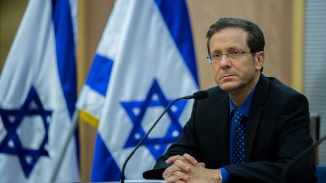 رئيس حزب 'المعسكر الصهيوني' يتسحاق هرتسوغ، 14 يوليو، 2015. (Yonatan Sindel/Flash90)