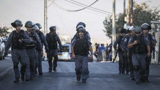 الشرطة في القدس الشرقية في 18 سبتمبر، 2015. (Hadas Parush/Flash90)