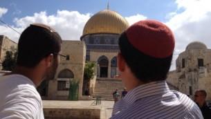 زوار يهود متشددين للحرم القدسي، 25 اغسطس 2015 (Elhanan Miller/Times of Israel)