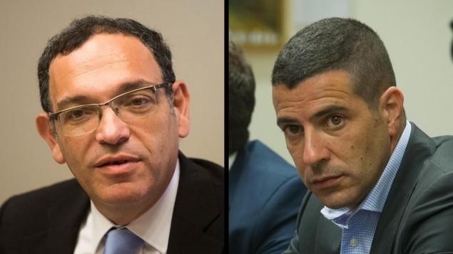النائبان المستقيلان من الكنيست شاي بيرون (من اليسار) وشارون غال. (Yonatan Sindel/Miriam Alster/Flash90)