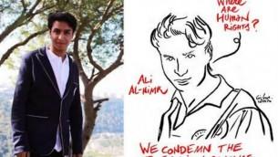 دعوة للمستخدمين على موقع فيسبوك لتغيير صورة حسابهم الشخصي لصورة (علي النمر - من اليسار)، الذي يواجه حكما بالإعدام لجرائم يُزعم أنه ارتكبها عندما كان قاصرا. (لقطة شاشة  Facebook)