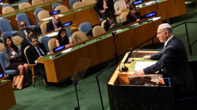 بنيامين نتنياهو يخطب امام الجمعية العامة للامم المتحدة 29 سبتمبر 2014 نيويورك (AFP PHOTO/Don Emmert)