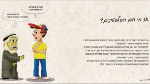 صفحة من منشور مجلس 'يشاع' الاستيطاني، العنوان هو 'من هم الفلسطينيين؟' (Courtesy Yesha Council)