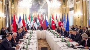 اجتماع دولي يضم 17 دولة في فيينا لتباحث حلول للأزمة السورية في فيينا، 30 اكتوبر 2015 (JOE KLAMAR / AFP)