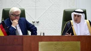 وزير الخارجية السعودي عادل الجبير خلال مؤتمر صحافي مع نظيره الالماني فرانك فالتر شتاينماير في الرياض، 19 اكتوبر 2015 (FAYEZ NURELDINE / AFP)