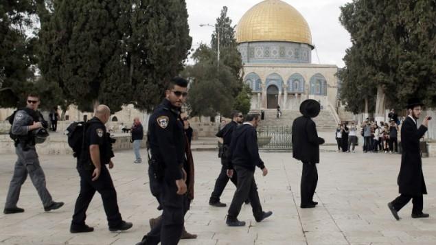 يهود متشددون يزورون الحرم القدسي تحت حماية الشرطة الإسرائيلية، 27 اكتوبر 2015 (AFP PHOTO/AHMAD GHARABLI)