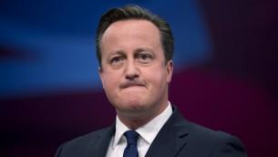 رئيس الوزراء البريطاني ديفيد كاميرون في اليوم الاخير من مؤتمر حزب المحافظين في مانشستر، 7 اكتوبر 2015 (OLI SCARFF / AFP)