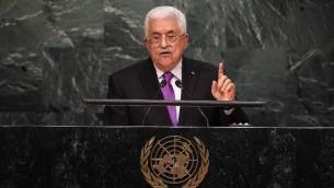 رئيس السلطة الفلسطينية محمود عباس خلال خطابه امام الجمعية العامة للأمم المتحدة في نيويورك، 30 سبتمبر 2015 (JEWEL SAMAD / AFP)