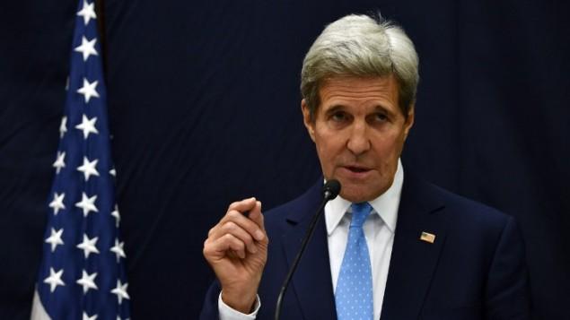 وزير الخارجية الأمريكي جون كيري، 6 أكتوبر، 2015. (Hector Retamal/AFP)